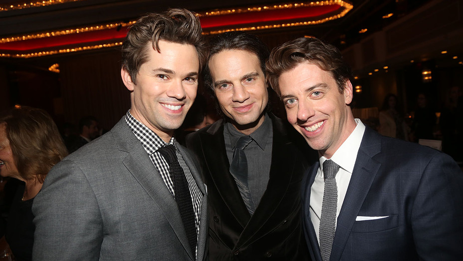 Andrew Rannells,  Jordan Roth and Christian Borle-After Party for Falsettos-H 2016