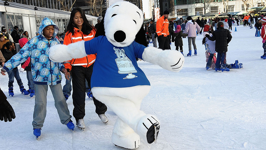 Snoopy skates with kids - 4th annual Skate Day - Getty - H 2016