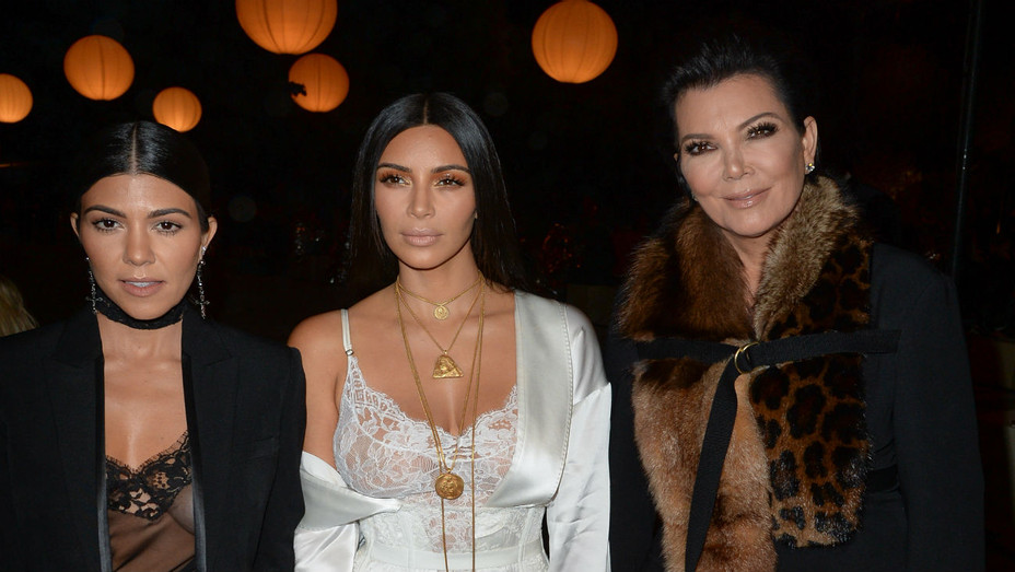 Kourtney Kardashian, Kim Kardashian and Kris Jenner at Givenchy Show, Paris Fashion Week