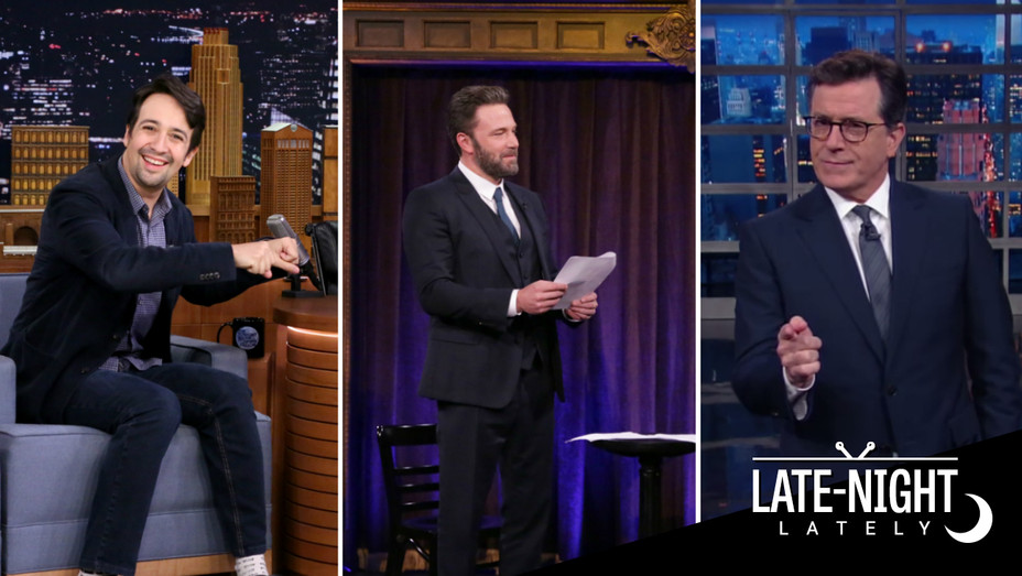 Lin-Manuel Miranda, Ben Affleck, Stephen Colbert split - H 2016