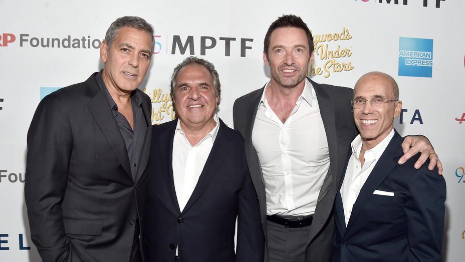George Clooney, Jim Gianopulos, Hugh Jackman Jeffrey Katzenberg - Getty - H