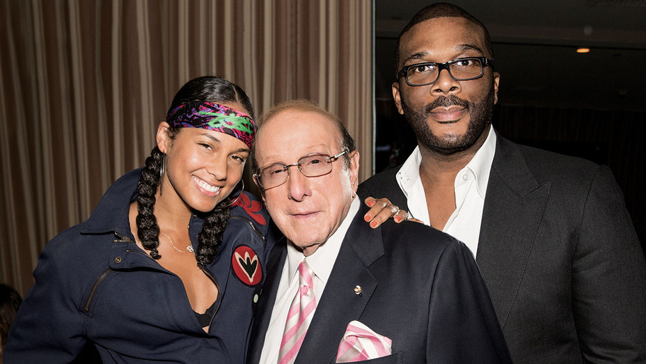Clive Davis flanked by Alicia Keys and Tyler Perry - Publicity - H 2016