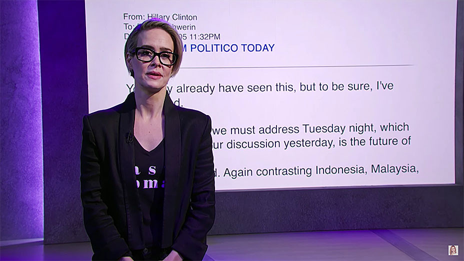 Full Frontal with Samantha Bee TBS - Sarah Paulson Fascinating Emails -  Screen Shot- H 2016