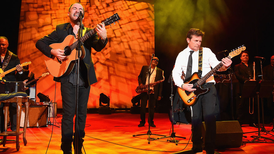 Dave Matthews and Michael J. Fox perform onstage- Michael J. Fox Foundation-Getty-H 2016