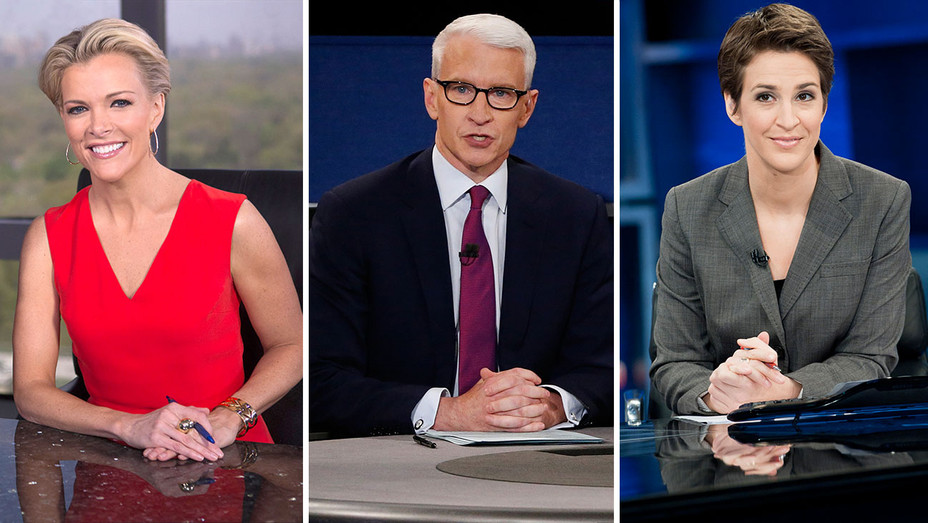 Megyn Kelly (Fox News), Anderson Cooper (CNN) and Rachel Maddow (MSNBC)-Split-  H 2016