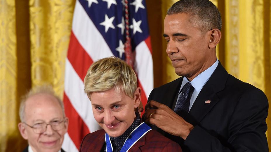 ONE TIME USE Barack Obama Ellen DeGeneres - Presidential Medal of Freedom - Getty - H - 2016
