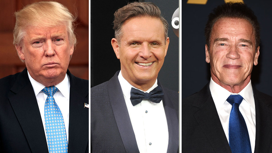 Donald Trump, Mark Burnett and Arnold Schwarzenegger-Split-Getty-H 2016