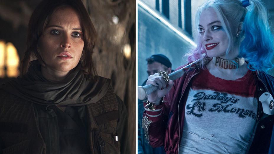 Felicity Jones in Rogue One and Margot Robbie in Suicide Squad- Split-H 2016
