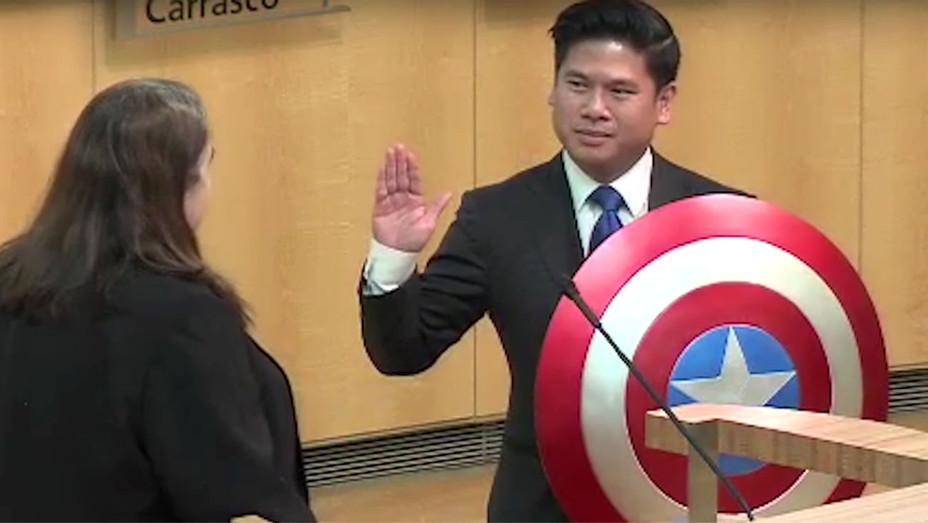 California councilman, Lan Diep - sworn in using his Captain America shield -Screen shot-H 2017