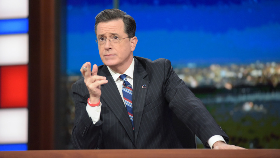 Stephen Colbert in character on Late Show - Publicity - H 2016