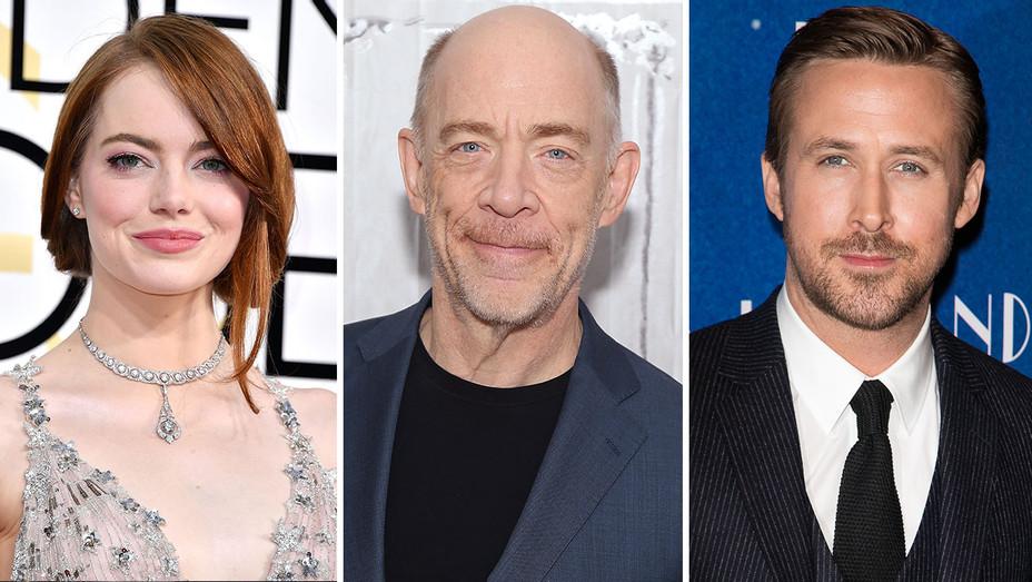 Emma Stone, J.K. Simmons and Ryan Gosling_Split - Getty - H 2017