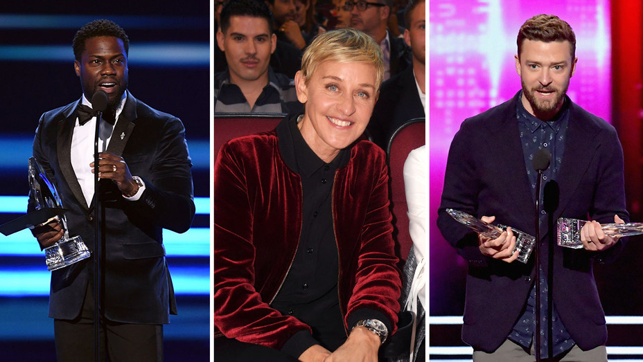 Kevin Hart, Ellen DeGeneres and Justin Timberlake_Split - Getty - H 2017
