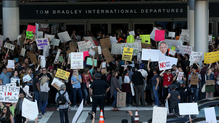 LAX Trump protests Twitter - H