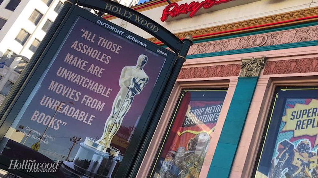L.A. Street Artist Targets Oscars With Mocking Posters on Hollywood and Highland