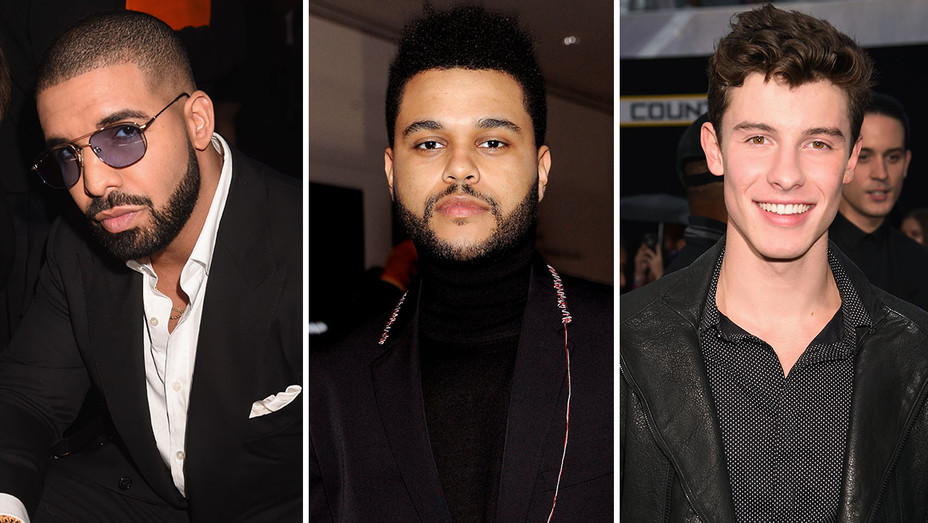 Drake, The Weeknd and Shawn Mendes  -Getty-Split-H 2017
