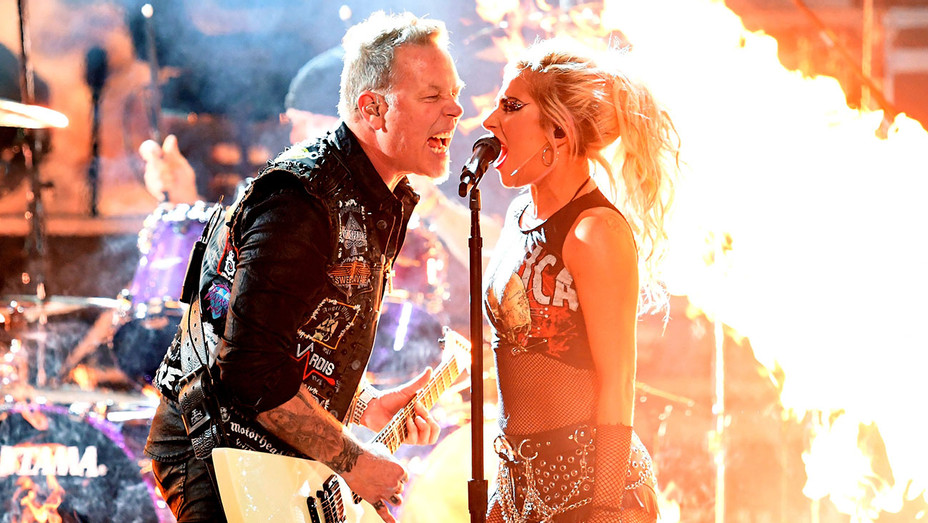 Metallica and Lady Gaga perform onstage during The 59th GRAMMY Awards- Getty-H 2017