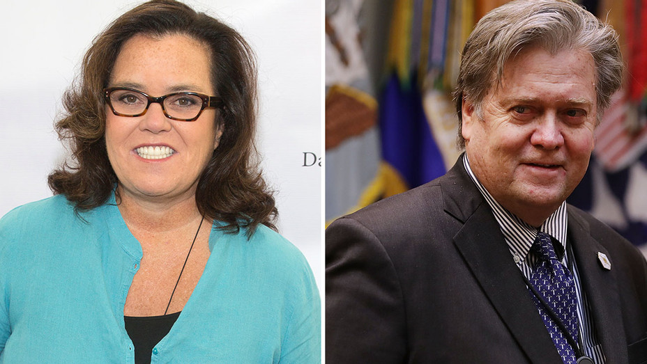 Rosie O'Donnell and Steve Bannon Split-Getty-H 2017