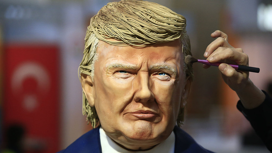 Donald Trump made out of cake icing - chocolate show in Istanbul -AP- ONE TIME USE ONLY-H 2017