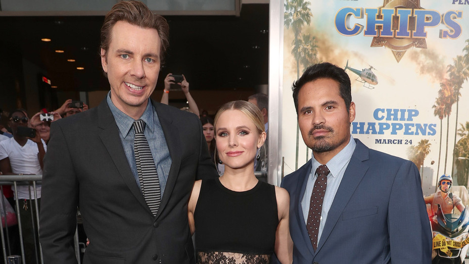Dax Shepard, Michael Pena, Kristen Bell at the CHiPS Premiere - Getty - H 2017