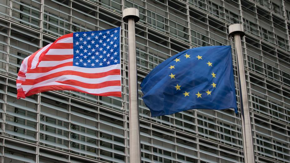 American, European Flags