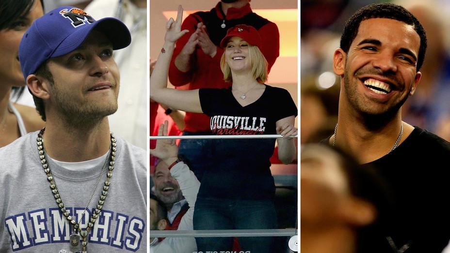 Justin Timberlake Jennifer Lawrence Drake March Madness - Getty - H Split 2017