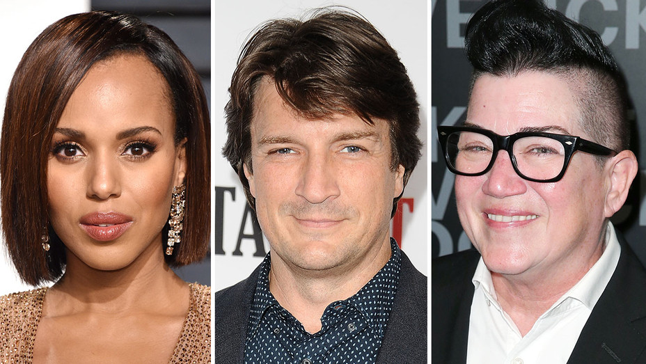 Kerry Washington Nathan Fillion Lea DeLaria Split - Getty - H 2017