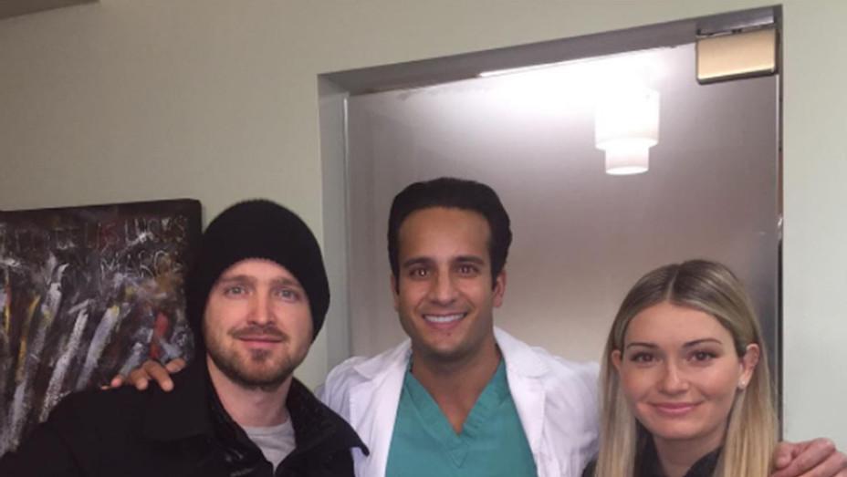 Aaron Paul & wife Lauren at dentist - SQ 2017