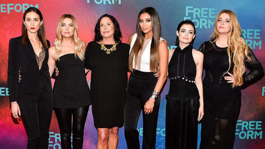 Troian Bellisario, Ashley Benson, I. Marlene King, Shay Mitchell, Lucy Hale, and Sasha Pieterse - Getty - H 2017