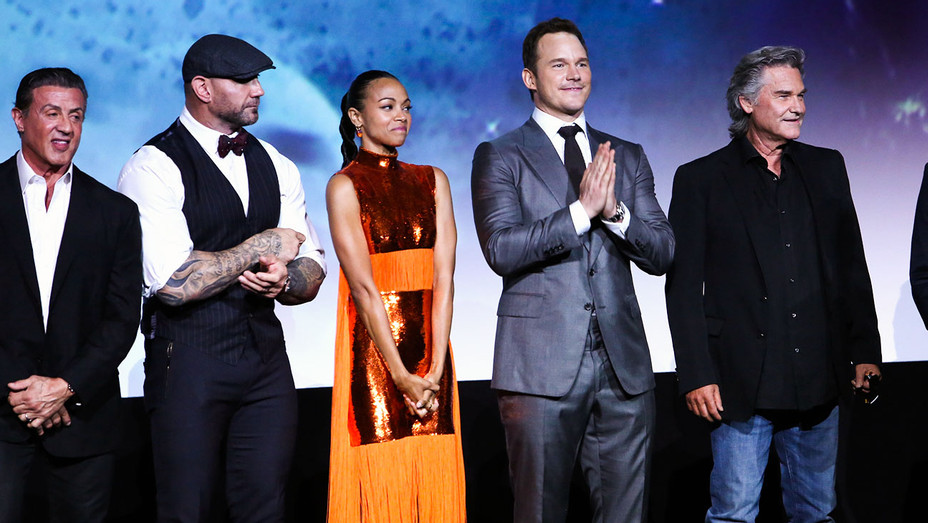 Sylvester Stallone, Dave Bautista, Zoe Saldana, Chris Pratt and Kurt Russell - Guardians of the Galaxy Vol. 2 Premiere - Getty - H 2017