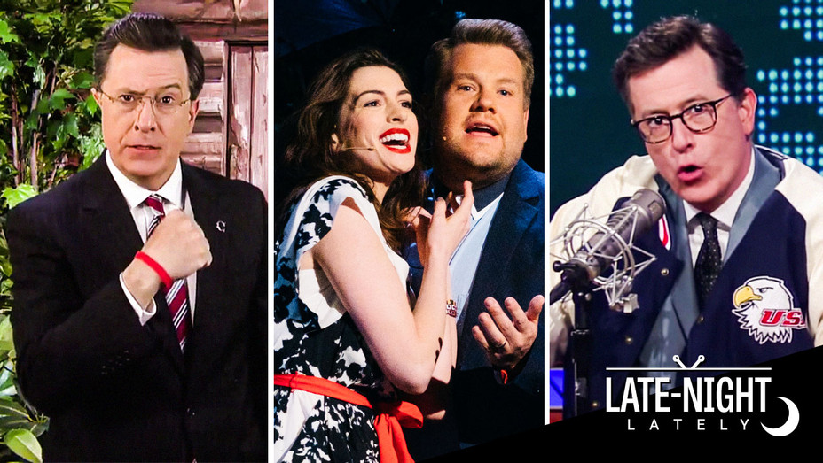 Stephen Colbert, Anne Hathaway and James Corden - Late Night Lately - Split - Publicity - H 2017