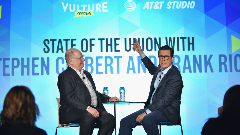 Stephen Colbert and Frank Rich at the Vulture Festival - H Getty 2017