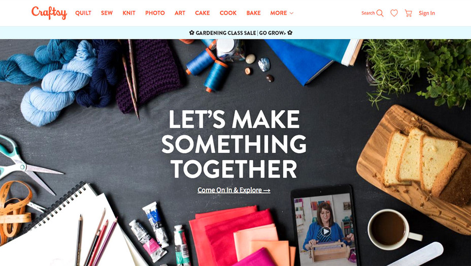 Craftsy website Home Page- Screen Shot-H 2017