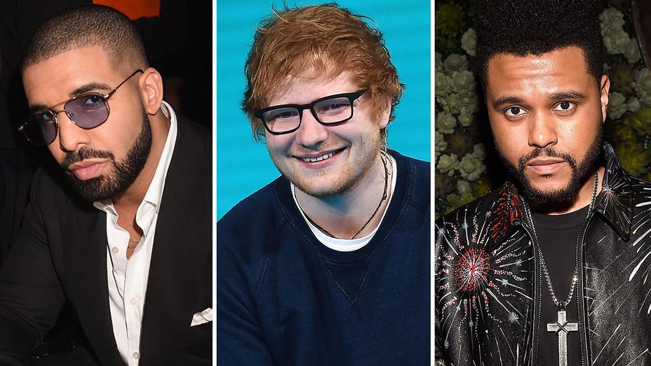 Drake, Ed Sheeran and The Weeknd -split-Getty-H 2017