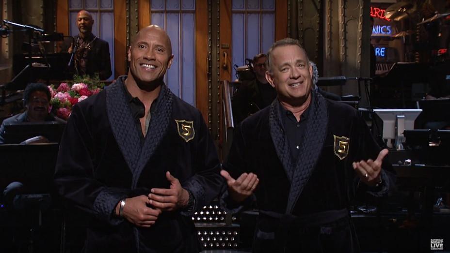 Dwayne Johnson Tom Hanks SNL - Screengrab 2017