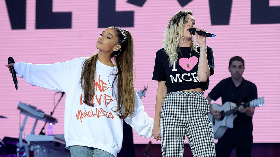 Ariana Grande Miley Cyrus One Love Manchester Concert - H Getty 2017