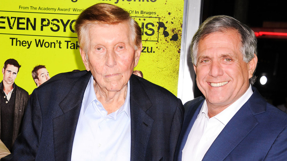 Sumner Redstone and Leslie Moonves - Seven Psychopaths Premiere 2012 - Getty - H 2017