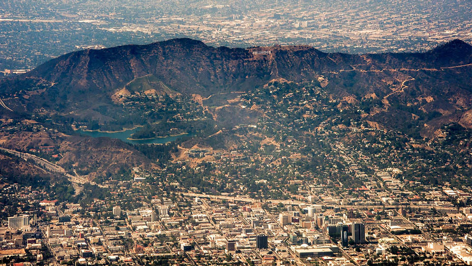 Burbank and Hollywood Hills Aerial View - One Time Use Only - Getty - H 2017
