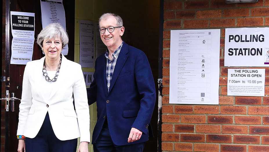 Theresa and Philip May - Polling Station at Maidenhead England - Getty - H 2017