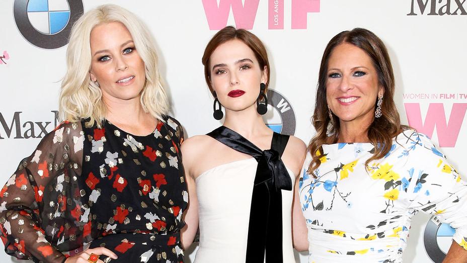 Elizabeth Banks, Zoey Deutch and Cathy Shulman - Crystal + Lucy Awards Carpet - Getty - H 2017