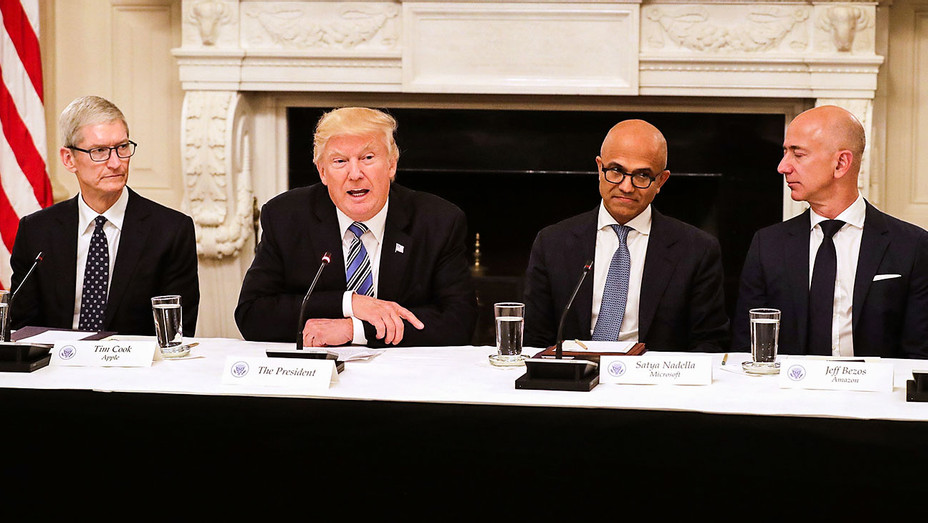 Tim Cook, Donald Trump, Satya Nadella and Jeff Bezos - White House - Getty - H 2017