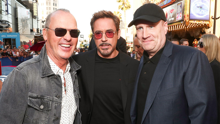 Michael Keaton, Robert Downey Jr. and Kevin Feige Spiderman Premiere - Getty - H 2017