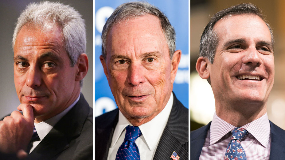 Michael Bloomnerg, Eric Garcetti and Rahm Emanuel - Split - Getty - H 2017