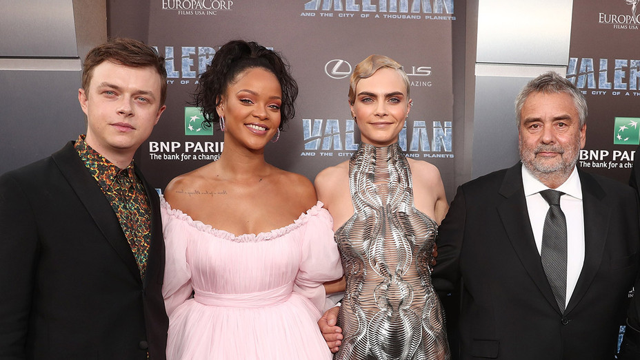 Cara Delevingne, Dane DeHaan and Rihanna and Luc Besson_Valerian Premiere - Getty - H 2017