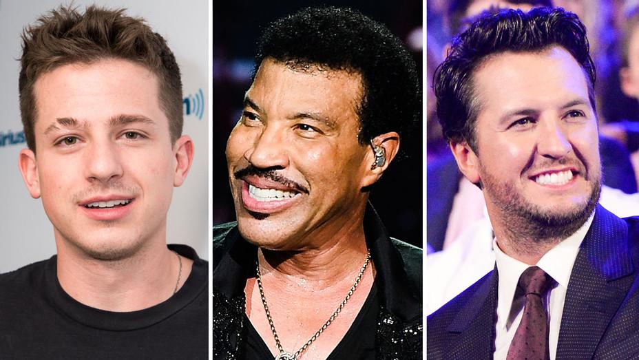Charlie Puth, Lionel Richie and Luke Bryan - Split - Getty - H 2017