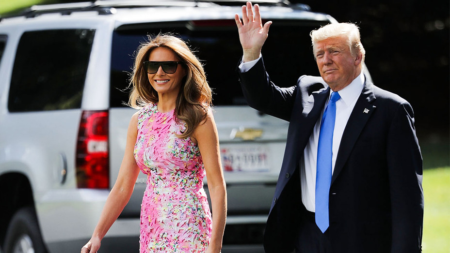 Melania and Donald Trump En Route to Youngstown Ohio - Getty - H 2017