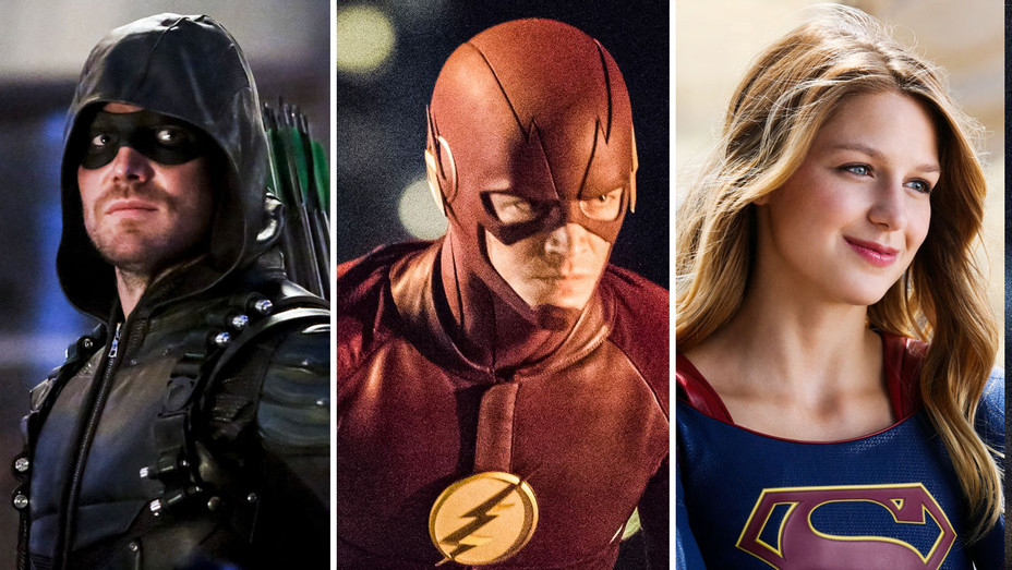 Green Arrow, Flash and Supergirl - Split - Photofest - H 2017