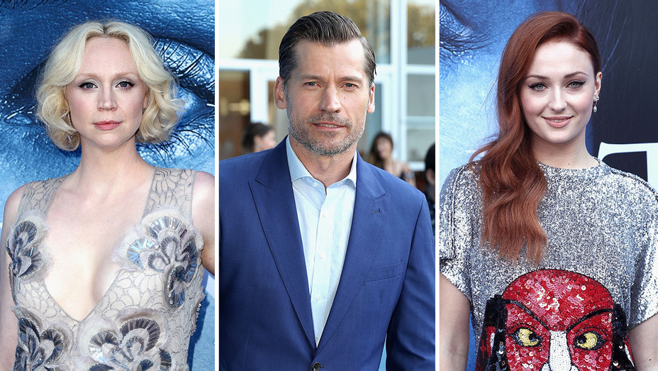Gwendoline Christie, Nikolaj Coster-Waldau and Sophie Turner_Split - Getty - H 2017