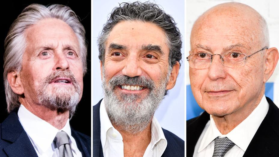 Michael Douglas, Chuck Lorre and Alan Arkin - Split - Getty - H 2017