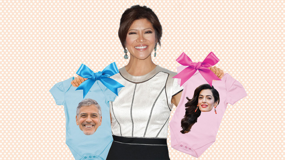 Julie Chen George and Amal Clooney Baby Gifts - Photo-Illustration - One-Time Use Only - H 2017