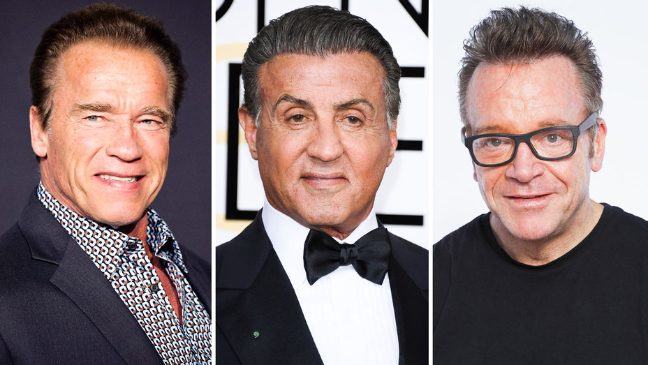 Arnold Schwarzenegger, Sylvester Stallone and Tom Arnold - Split - Getty - H 2017